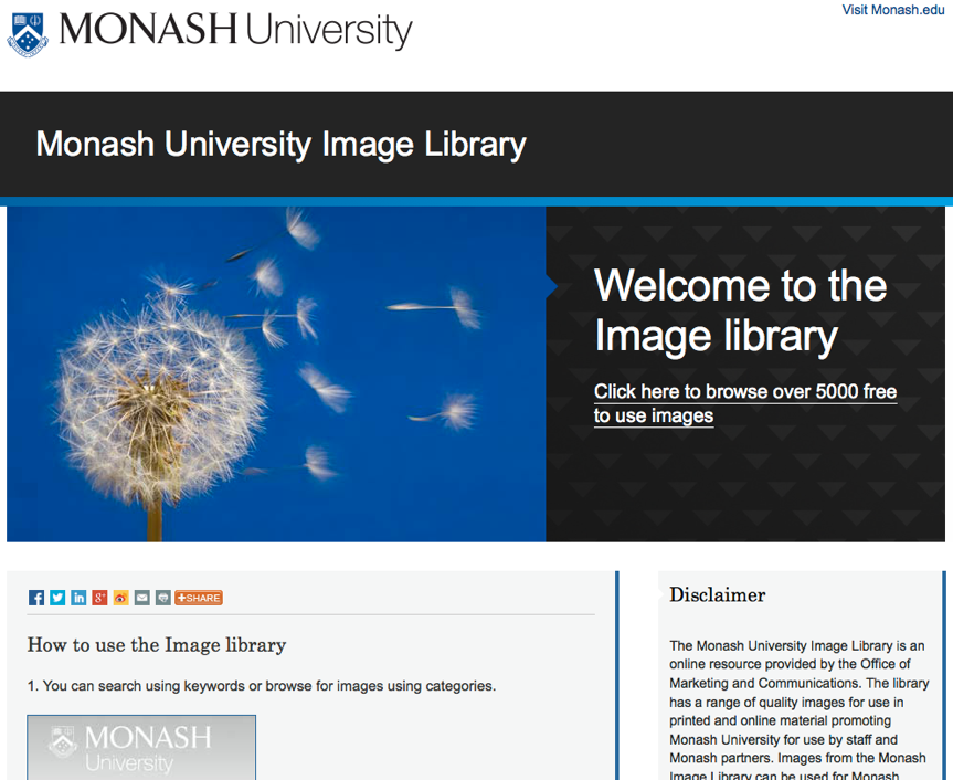 Above: The Monash University Image Library is a valuable resource for staff, students and other key stakeholders. The University took steps early in its development to ensure the image library is intuitive and easy to search.